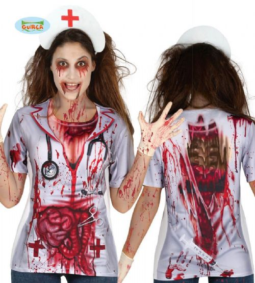 Adult Nurse Doctor T-Shirt Costume for Halloween Zombie Walking Dead Fancy Dress